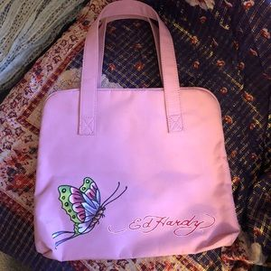 Ed Hardy pink butterfly travel cosmetic bag